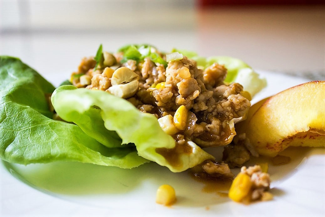 Chicken Lettuce Wraps (PF Chang-style). spicy, sweet, crunchy deliciousness in a healthy lettuce wrap.