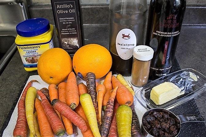 Roasted Glazed Carrot Tzimmes ingredients