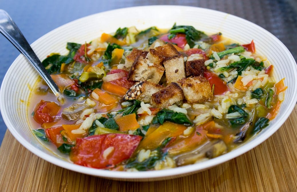 Roasted Vegetable and Rice Soup