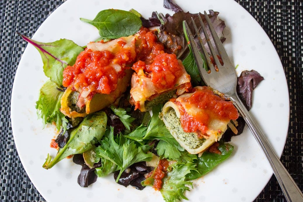 Stuffed Cheese Spinach Pasta Shells