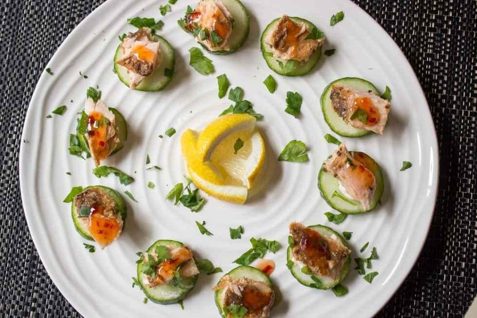 salmon on cucumber appetizer
