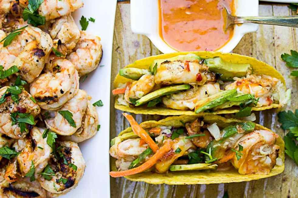 Grilled Shrimp Tacos with Coconut Lime Chili Sauce