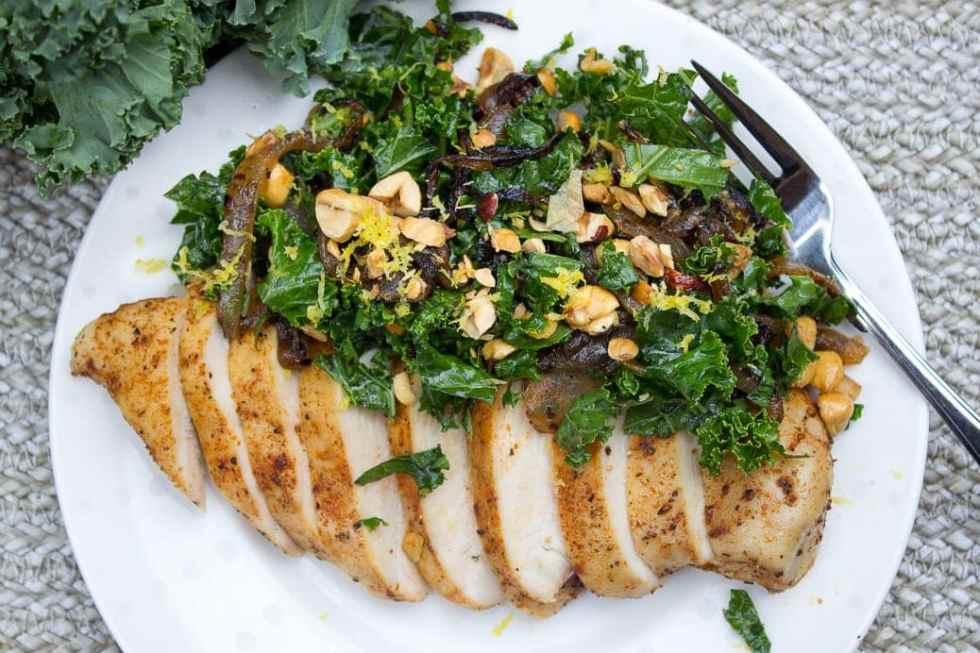 Light Kale Hazelnut Charred Onion Slaw with Chicken