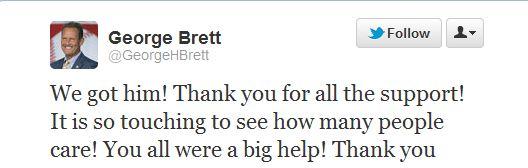 found Charlie Tweet from George Brett