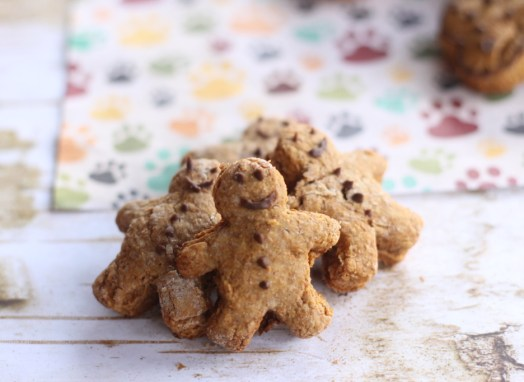 Homemade Gingerbread Men Dog Treats with Carob frosting