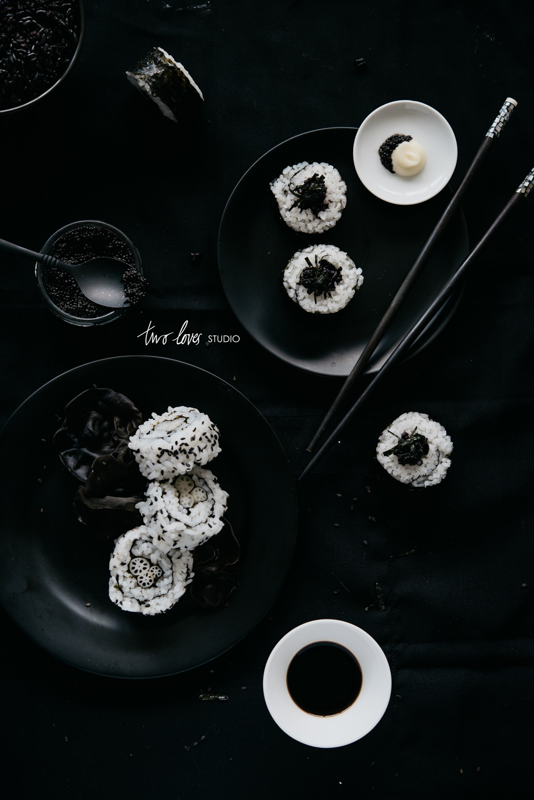 Two Loves Studio Black White Food Photography Sushi