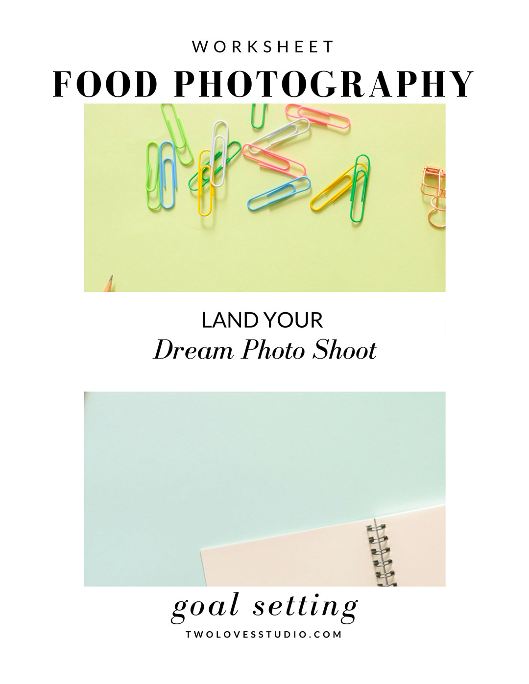 Free Food Photography Goal Setting Worksheet