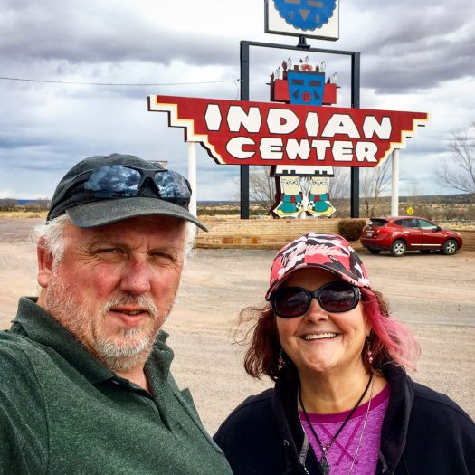 Photo of Robert and Debra in front of Indian Center