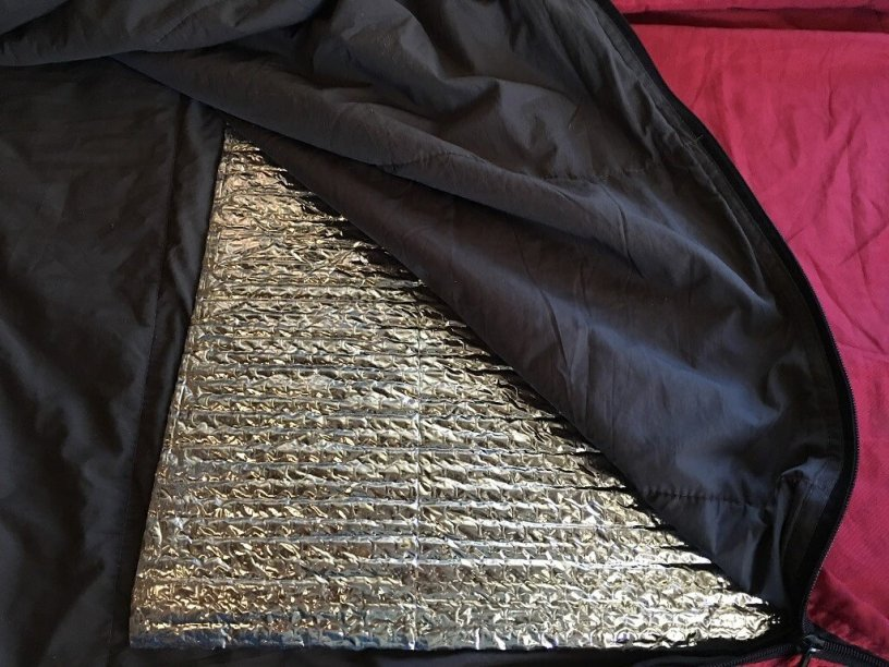 Photo: Reflectix liner in a sleeping bag