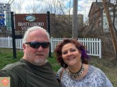 "Photo: Robert and Debra at the ""Welcome to Brattleboro"" sign"