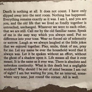 Photo of the Poem, Death is Nothing At All