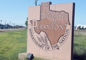 PERRYTON, Texas (5/16/16) - Stone welcoming sign on US Highway 83 at the north end of town. (Photo by David Bowser)