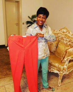 The First Lady of Rivers State show proudly one of the pieces of TWON-by-Jane