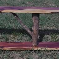 large cedar shelf with bark