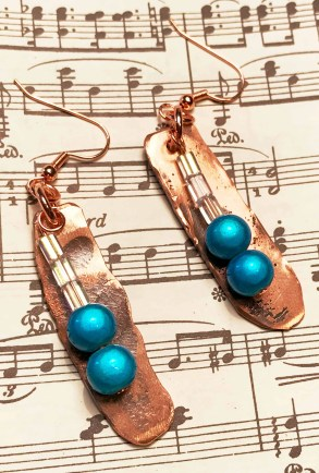 Hammered Copper Earrings with Turquoise
