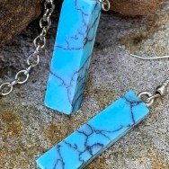 Turquoise Resin Earrings; slim