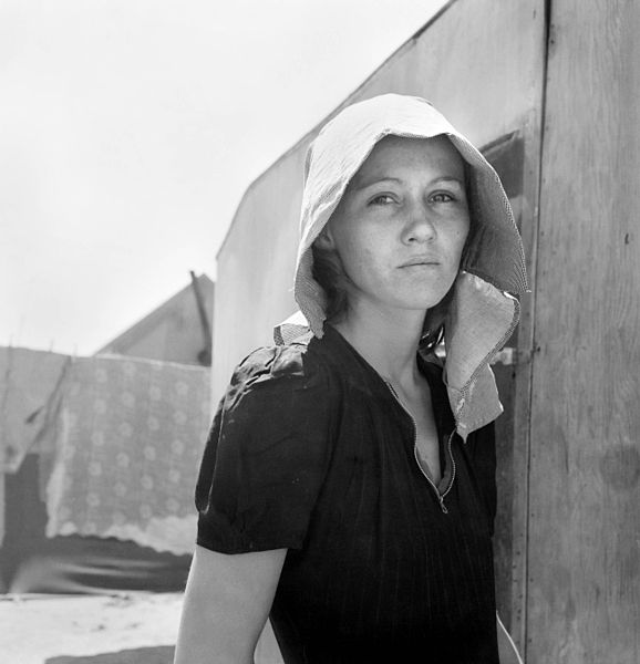 578px-Dorothea_Lange_Young_Migratory_Mother_originally_from_Texas_Edison_California_1940 Dust Bowl USA - gedocumenteerd door Dorothea Lange