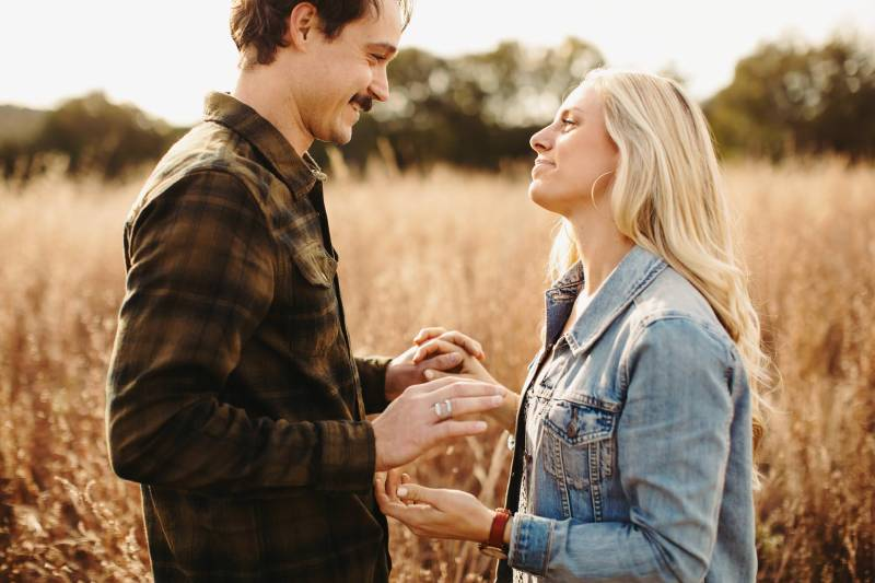 Austin Engagement photos colorful golden hour commons ford red grass fun exciting