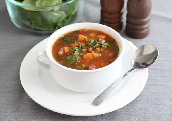 Lentil Soup with Sweet Potatoes & Spinach