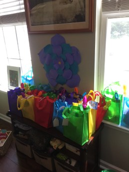 Colorful party favor bags