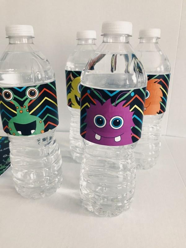 Monster water bottle label
