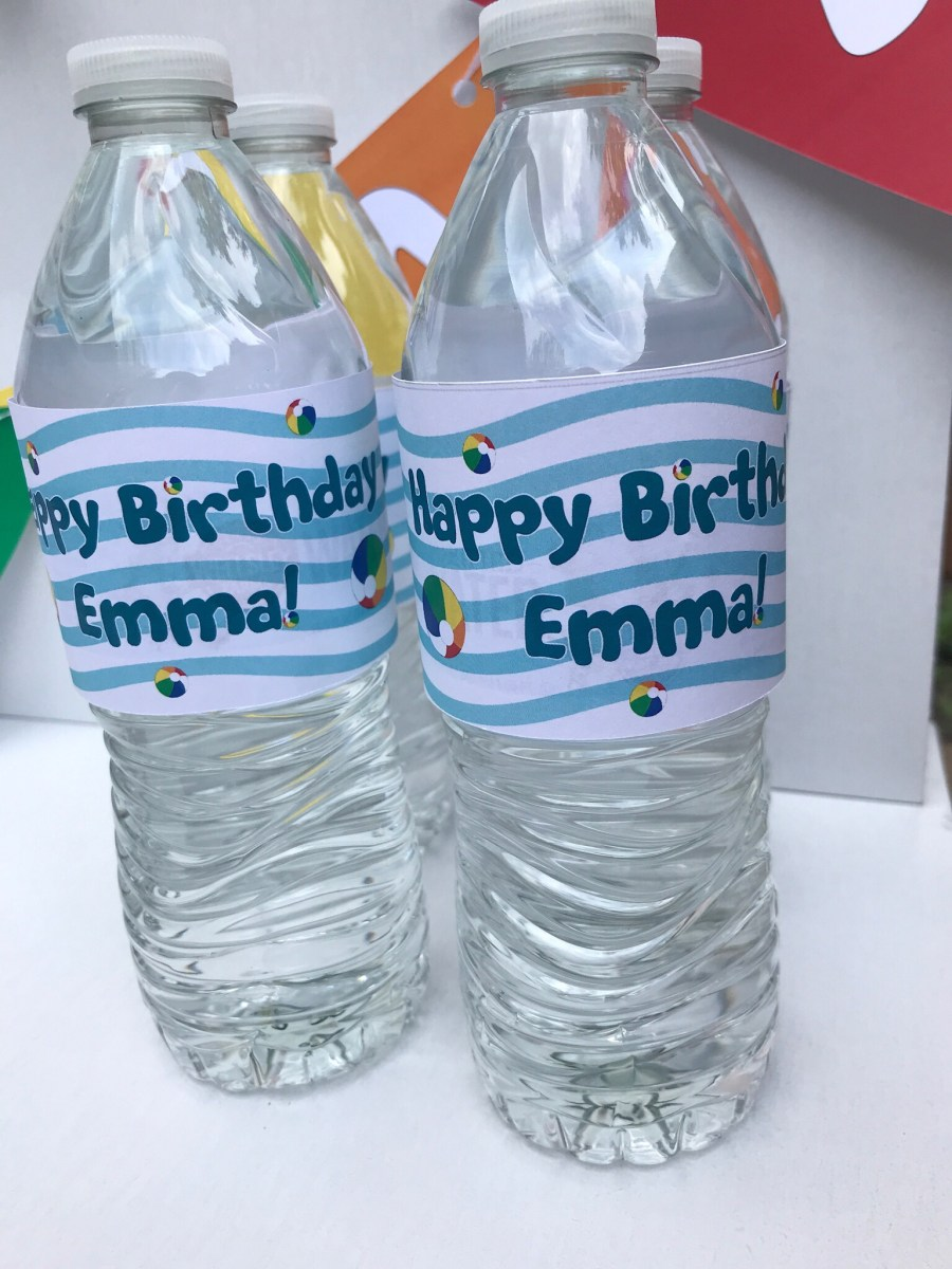 Pool Party Custom Water Bottle Labels