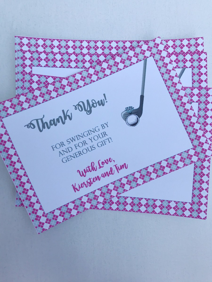 Golf Bridal Shower Thank You Cards