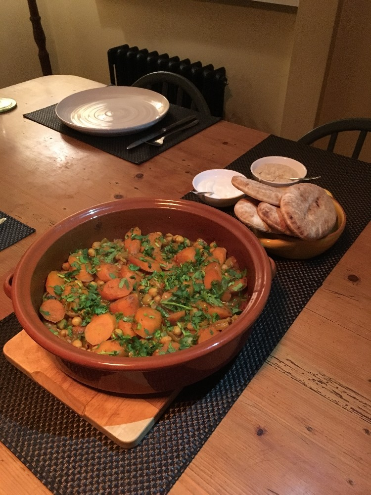Simple Carrot Tagine Recipe- Delicious Carrot and Chickpea Tagine