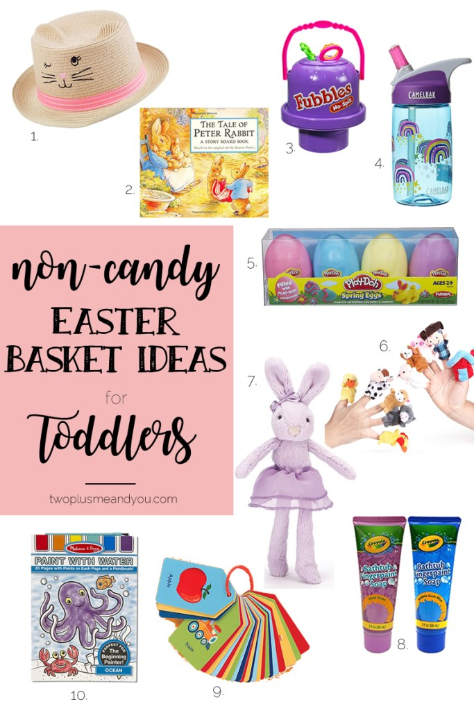 Non-Candy Easter Basket Ideas for Toddlers | twoplusmeandyou.com