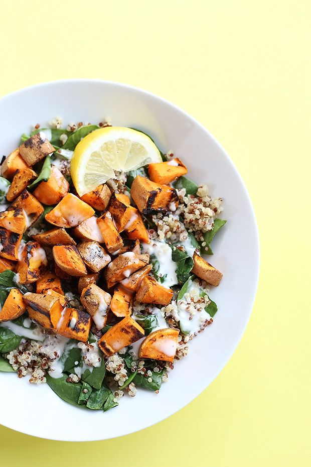 This 5 Ingredient Sweet Potato Spinach Quinoa Salad is super simple to make, healthy and only requires 5 simple ingredients! Vegan and Gluten Free. / TwoRaspberries.com