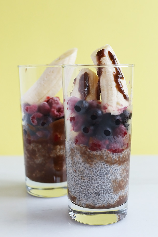 This Blueberry Chocolate Chia Breakfast is a complete superfood packed with chia seeds and blueberries! Great for a healthy breakfast or snack. Vegan and Gluten Free. / TwoRaspberries.com