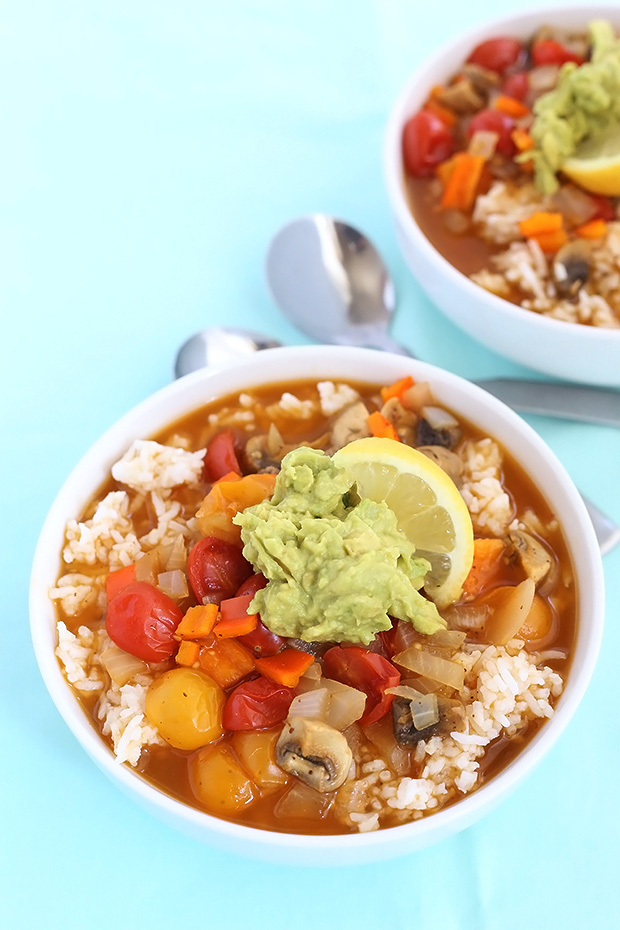 Mushroom Veggie Rice Soup is a warm and comforting dish that's really easy to make. It is oil free and low sodium, vegan and gluten free! / TwoRaspberries.com