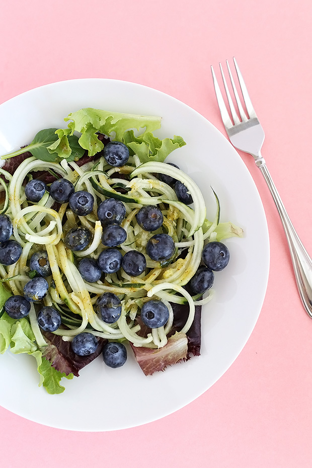 This Healthy Cucumber Noodle Blueberry Salad is fresh, light and has a sweet and savory maple and mustard dressing! Vegan and GF. / TwoRaspberries.com
