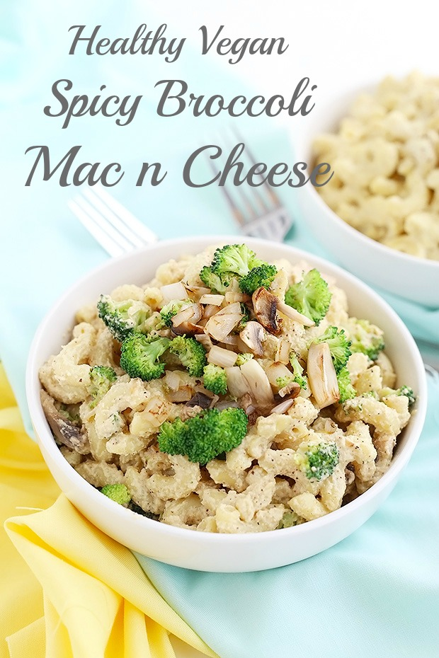 This Healthy Vegan Spicy Broccoli Mac n Cheese is super simple to make, rich and creamy, indulgent and VEGAN! perfect comforting dinner! / TwoRaspberries.com