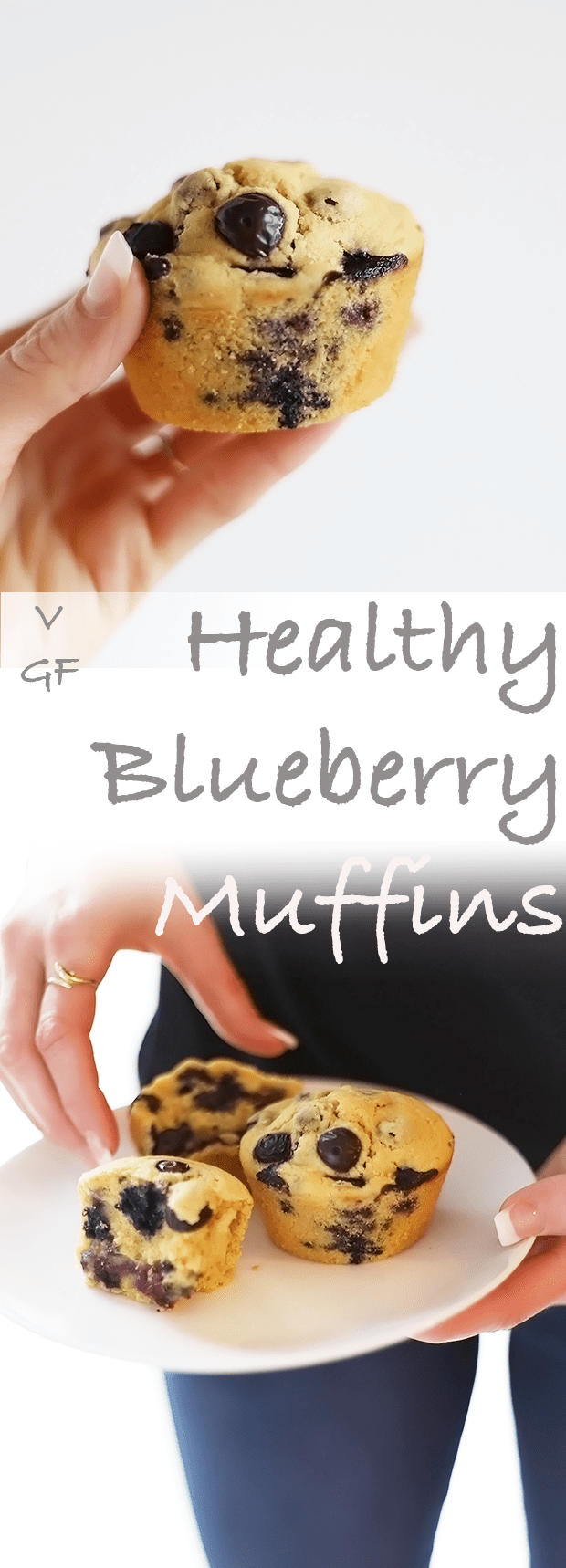 These Healthy Blueberry Muffins are super quick and easy to make! They are vegan, gluten free, refined sugar free and the texture is light and soft! | TwoRaspberries.com