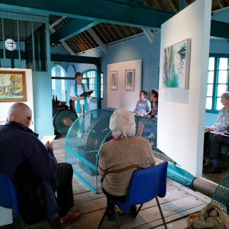 Gill Learner reading at the Turbine House June 2019