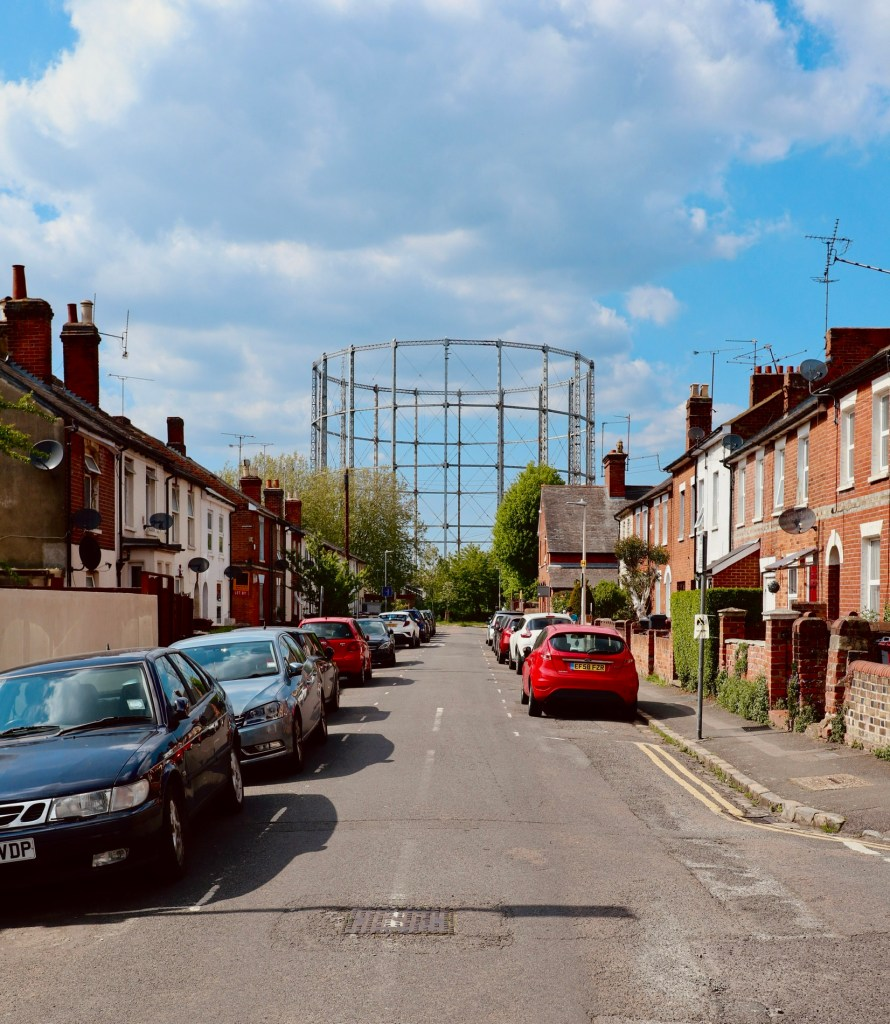 Gas holder four, as seen from Newtown's Cumberland Road, summer 2021