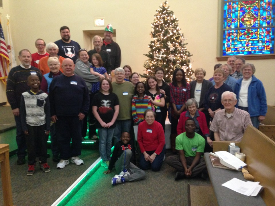 Group in front of the Chrismon Tree