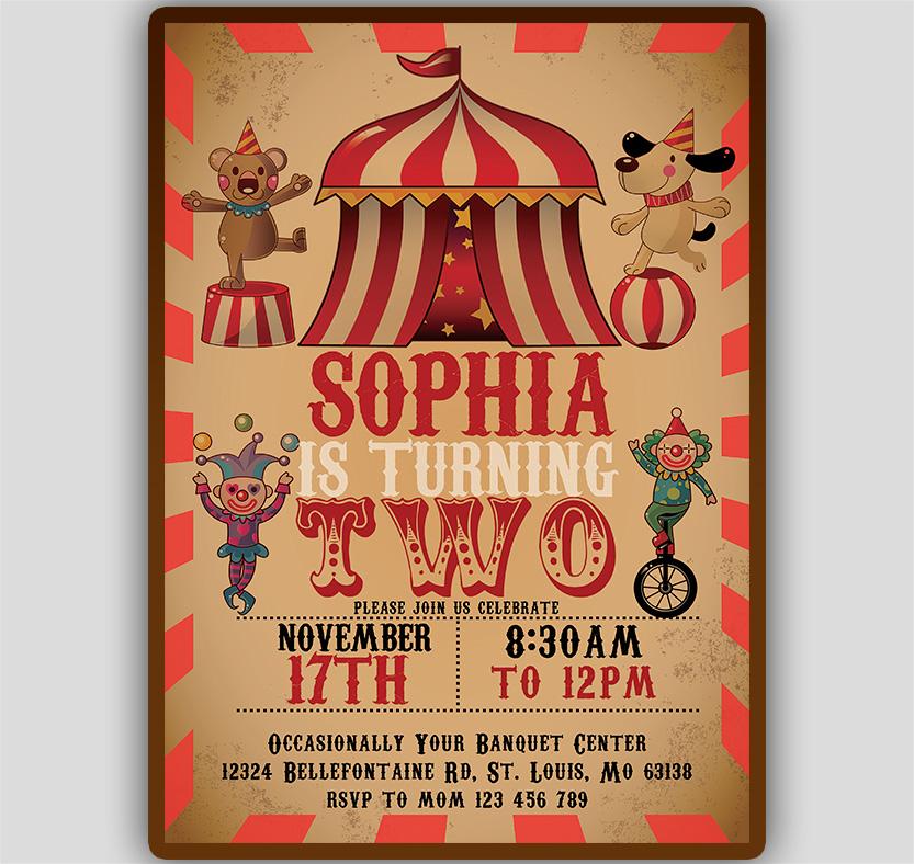 Circus Birthday Invitation Template Tworlddesigns Download