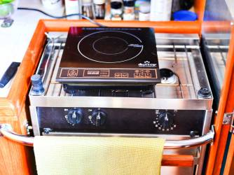 This is our propane stove with our induction hot plate sitting on top.