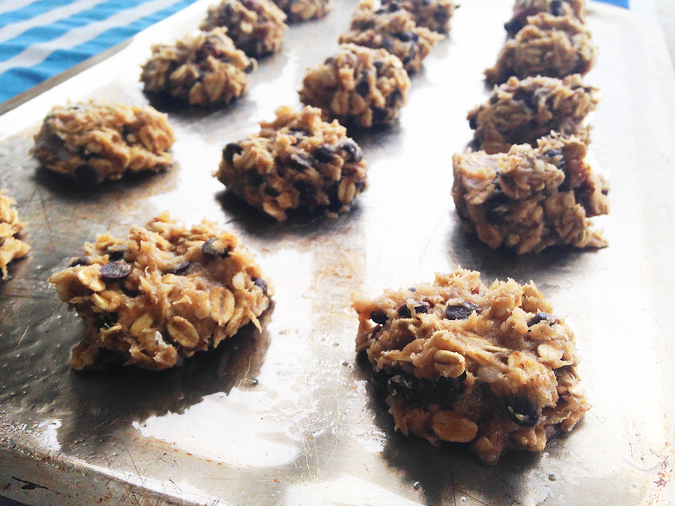chocolate chip almond oatmeal cookies 9