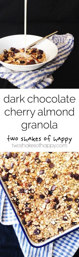 Dark Chocolate Cherry Almond Granola | Two Shakes of Happy