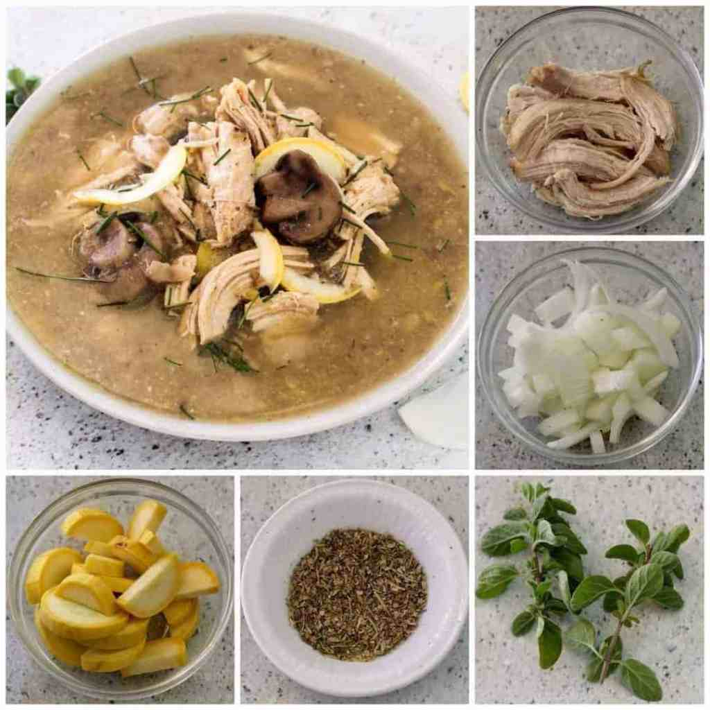 Chicken Mushroom soup recipe. Collage of all the ingredients in it including chicken, onions, yellow squash, italian seasoning and fresh oregano