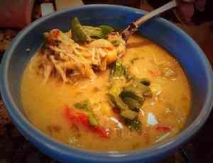 high protein low carb chicken veggie laksa www.twosleevers.com