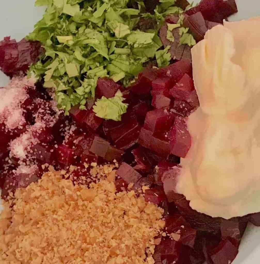 Beetroot salad ingredients 1007x1024 - Beetroot Salad with Greek Yogurt - https://twosleevers.com