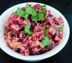 Classic Indian Beeetroot Salad with yogurt, peanuts, and cilantro is so easy when you use your Instant Pot or Pressure Cooker to cook beets.