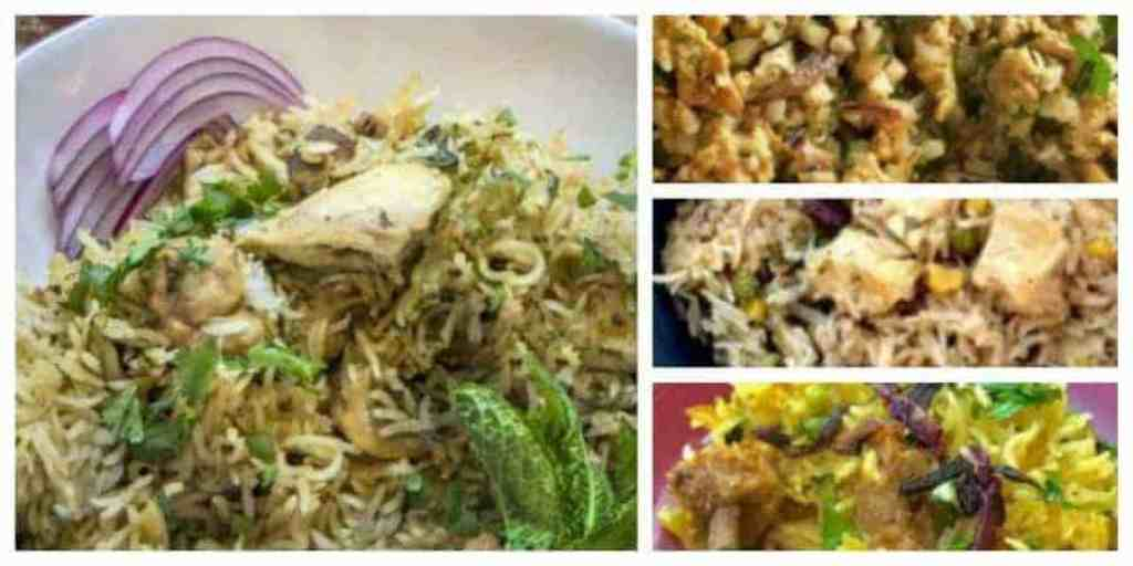 how to make chicken biryani in your pressure cooker or instant pot. four pictures of chicken birhani, lamb biryani, paneer biryani, and low carb chicken biryani