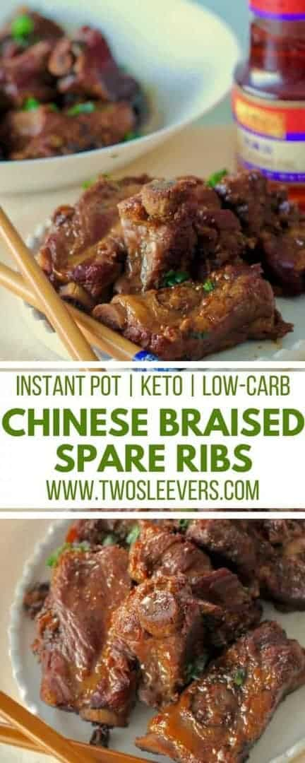 Braised Spareribs | Chinese Ribs Recipe | Instant Pot Ribs | Instant Pot Chinese Recipe | Instant Pot Ribs Recipe | Keto Ribs | Keto Chinese Recipe | Low Carb Chinese | Two Sleevers #instantpotrecope #instantpotribs #ketochinese