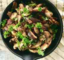 Three ingredients and ten minutes of cook time to make an amazing keto bacon mushroom side dish that is full of flavor. Such an easy way to a keto mushroom dish and so absolutely delicious.