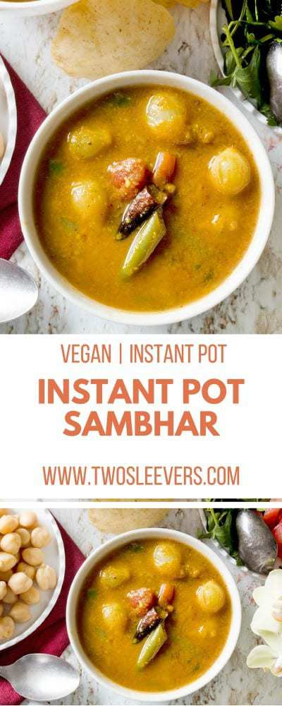 This vegan Instant Pot Sambar recipe will show you how to make sambar and get a wonderful soup to go with your Indian meals. This is an authentic sambar recipe for an Andhra Sambar--one that has been handed down for generations--but most importantly, it is very tasty.   Vegan Instant Pot Recipe | Instant Pot Sambar| Andra Sambar Recipe | Indian Instant Pot Recipe Instant Pot Sambar?